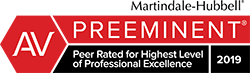 Martindale-Hubble Preeminent Peer Rated for Highest Level of Professional excellence. 2019.